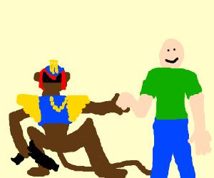 Chimp Judge Dredd and bald man are BFFs.
