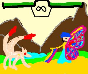 Pink zergling vs butterfly man