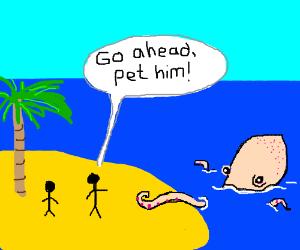 Is it ok 2 pet a giant octops? Yes he likes it