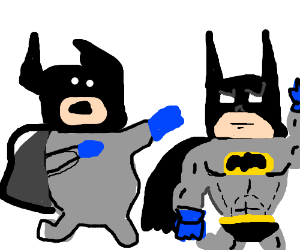 Batman tries to strangle better drawn batman