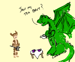Dragon asks Dragonborne to teaparty