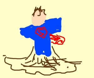 Superman has been liqufied into diarrhea!