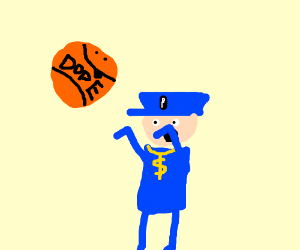 A swaggity Mcswag cop plays some dope BBALL
