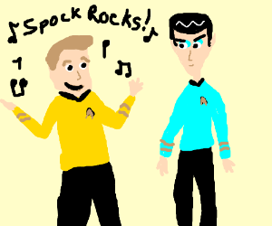Kirk creates a theme song to make Spock dance