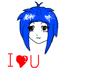 blue haired anime loves you