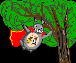 Totoro is now a super-hero! He can fly!