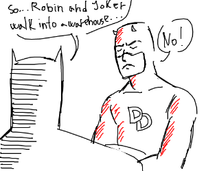 Batman tries to make daredevil laugh