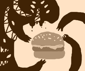 The shadow demon wants the hamburger