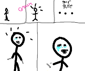 Cute Stickman Breaks His Flute (And Cries)
