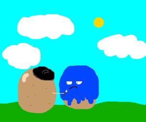 potato paints other potato blue
