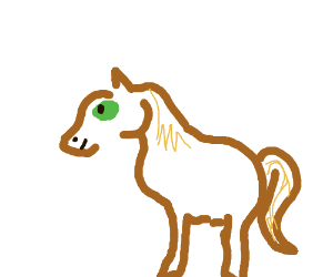 two legged horse with huge green eye