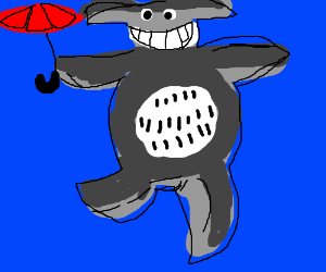 Totoro in a blue background