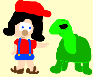 Mario's sister pointing at a turtle