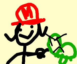 Lucy Van Pelt as Mario poking mad turtle