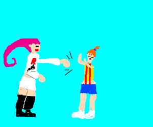 Jesse from Team Rocket punches Mist(y?)