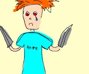 Sad Anime boy has swords for hands.