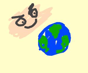 Big skin monster behind Earth