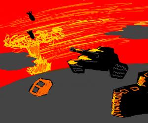 Bombers & tanks ravage a war-torn city.