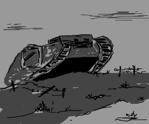 A war scene with a tank