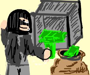 a man steals money from a safe