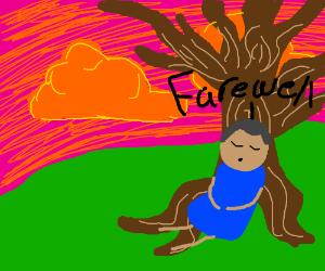 sad man sits against tree sadly *says farewell