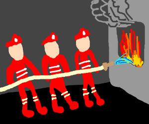 A group of faceless firemen