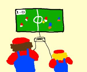 Mario and his son play Fifa