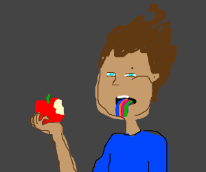 Man eats apple. Tastes the rainbow
