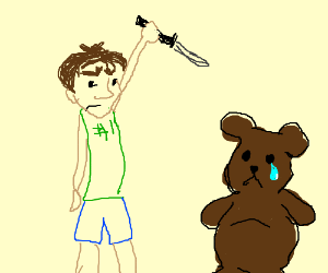 man stabs teddy bear
