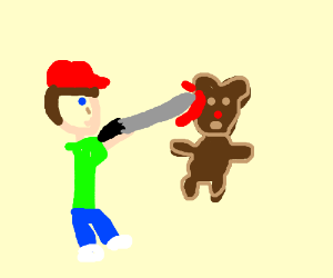 dude stabbing a teddy with a sword