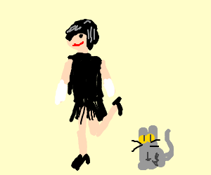 1920s flapper girl with cat.