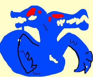 Blue goopy monster