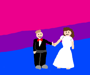 Bisexual flag and couple who is sexy.