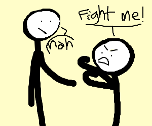 Giant man refuses fight from smaller man