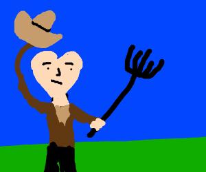Heart-headed farmer removes hat
