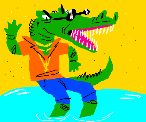 An alligator in clothes seems upset.