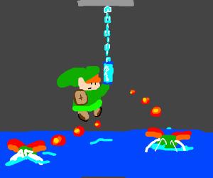 Adult Link hangs helplessly from limp hookshot