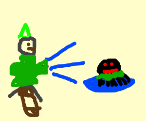 """Link uses """"Blast"""" On green pondskater spiders"""