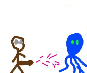 wizard uses big black wang powers on octopus