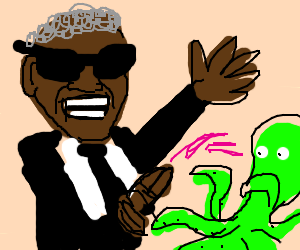Ray Charles comes fucsia on blue octopus