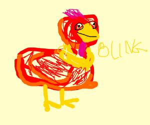 Red chicken got bling