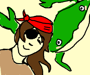 Pirate snuggling with green crab monster