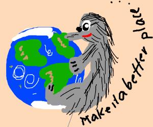 Sloth hugs the earth