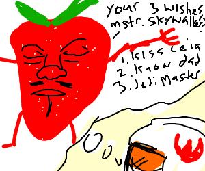 Helmeted kid dreams of strawberry djinn