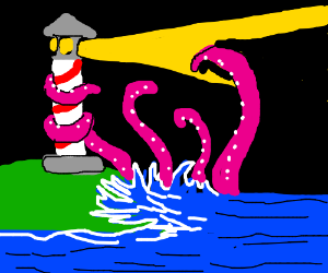 The kracken sought to destroy the lighthouse