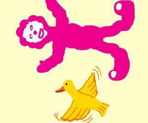 flappy duck under pink clown cloud