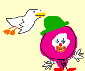 Duck flying above magenta balloon clown man.