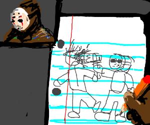 Jason doodles his last murder