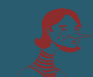 Girl with long neck and pointy nose