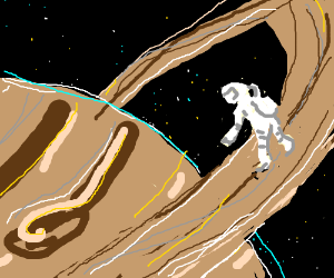 Astronaut floating over Saturn